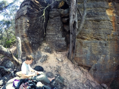 Searching the guide at the Blue Mountains.