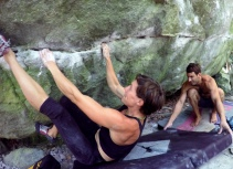 Finale Bouldering - Kate and Joe working as a team on the boulder