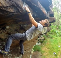 Andy's try hard face at a Sheffield crag